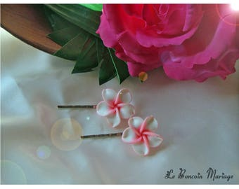 plumeria pink and white color flower hair clip choice
