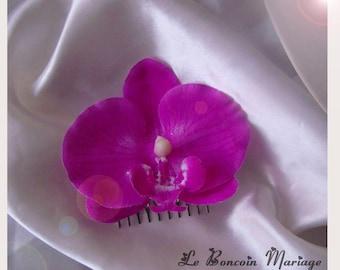 fuchsia Orchid hair comb
