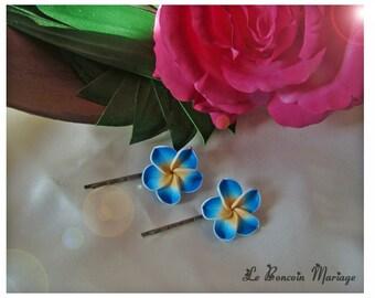 turquoise color plumeria flower hair clip choice