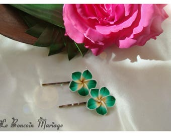 hair clip choice of color emerald green plumeria flower