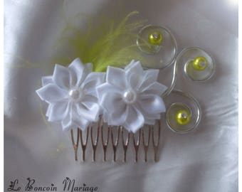 White satin flower, beads/lime color feather rhinestone hair comb