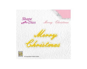 Nellie Snellen Shape English Merry Christmas Word Die die