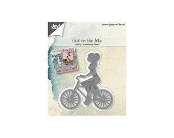 Die cut Joy Crafts bike girl