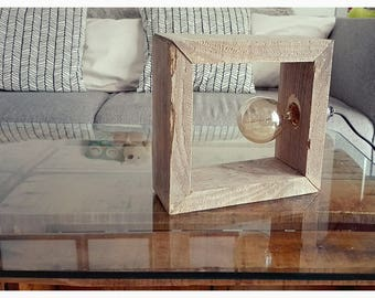 Decorative lamp made of pallets with natural patina