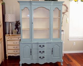 CUSTOM PAINTED Vintage China Cabinet/ Hutch/ Breakfront/ Sideboard, Shabby Chic French Provincial