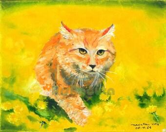 Stealthy Orange Cat in Dandelion Field