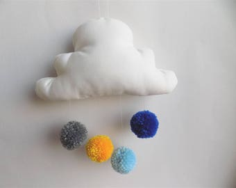 white cloud mobile and its four gray, yellow, blue and dark blue tassels