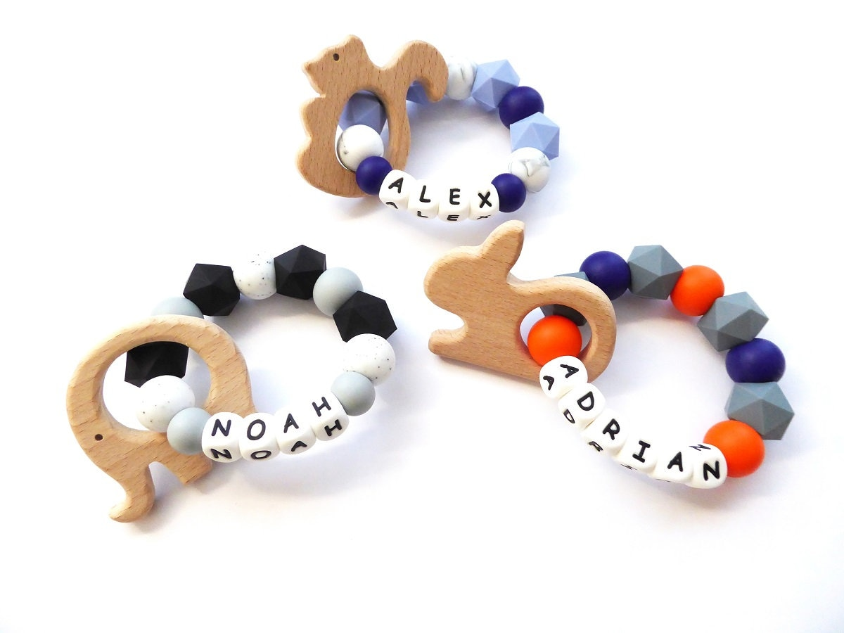 Baby Teething Toy Name Teether Personalized Teether Ring