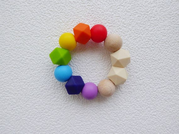 Teething necklace silicone beads baby sensory jewellery teether rainbow ring uk