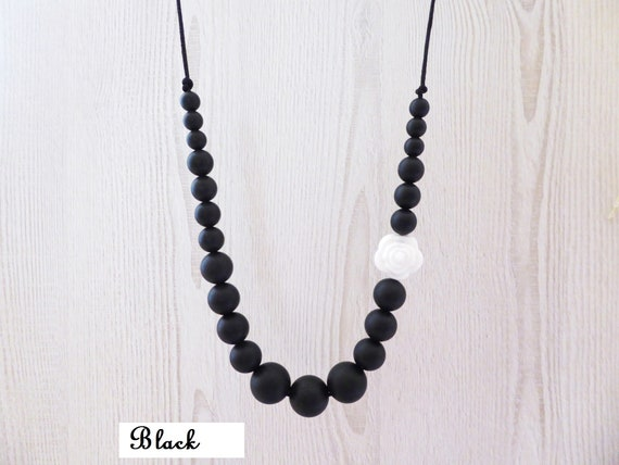Free Ship Wood Teething Ring Seersucker Pink Necklace Mom Jewelry