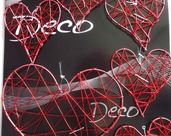 HEARTS x 6 - light metal - different sizes - color red REF. 767