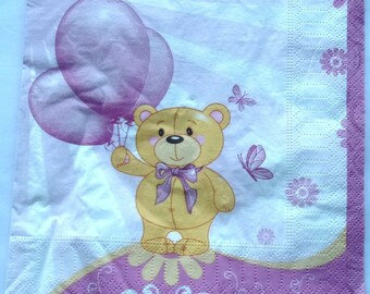 PAPER NAPKINS x 20-Teddy bear with balloons pattern pink ref.3704