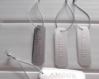 set of 4 plates engraved love hanging art silver color metal 3977