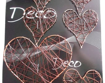 HEARTS x 6 - light metal - different sizes - color chocolate REF. 767