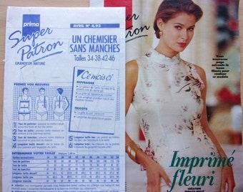 sewing pattern prima /chemisier Sleeveless / Women / REF. 4.93