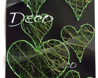 HEARTS x 6 - light metal - different sizes - color green REF. 767