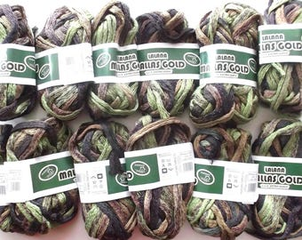 Ribbon yarn has knit x 12 color tones green BEIGE chocolate REF. 1057