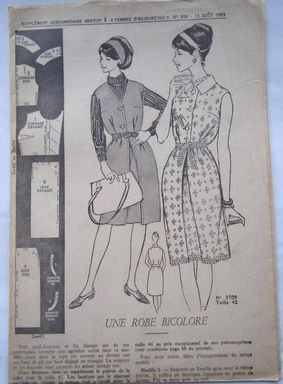 patrones de costura vintage vestido BICOLORE a mujer Nº 957   Etsy