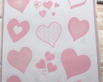 decorative wedding - 60 hearts vitrostatiques - color pink