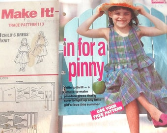 MAKE IT sewing pattern - dress with shoulder straps for girl REF. 113