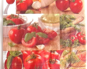 20 napkins - patterns, tomatoes, basil, size 33x33cm REF.   33