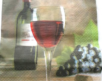 20 napkins - bottle of wine - glass - grape REF.  3210