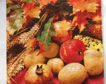 20 autumn FRUITS paper napkins REF.   3596