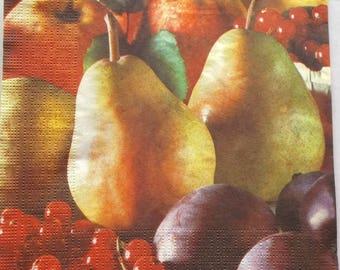 5 napkins - fruit - plum gooseberries PEAR Apple theme