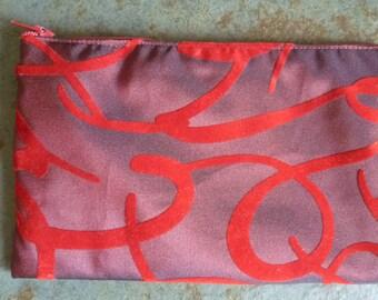 clutch in red taffeta with velvet zipper