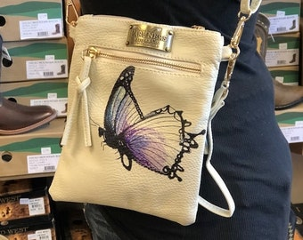 Hand Painted Crossbody Purse- Butterfly