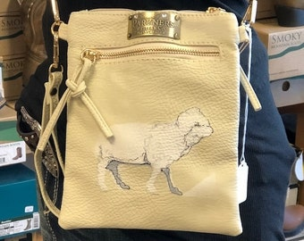 Hand Painted Crossbody Purse- Sheep