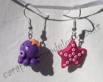 Pair of Octopus and star earrings sea