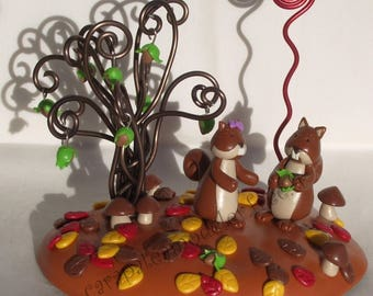 Picture holder squirrels in love couple