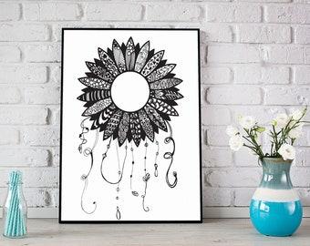 Flower Doodle Art Digital Print