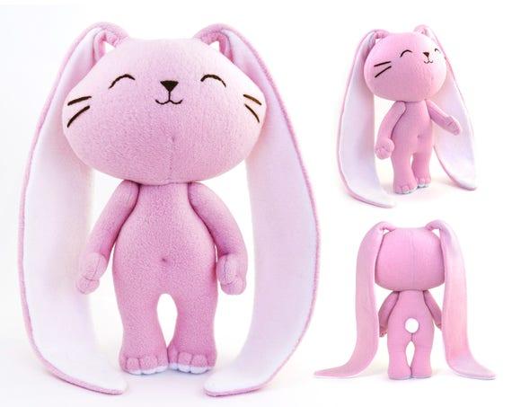 Cute Bunny Rabbit Plush Toy Handmade Bunny Doll Pink And Etsy