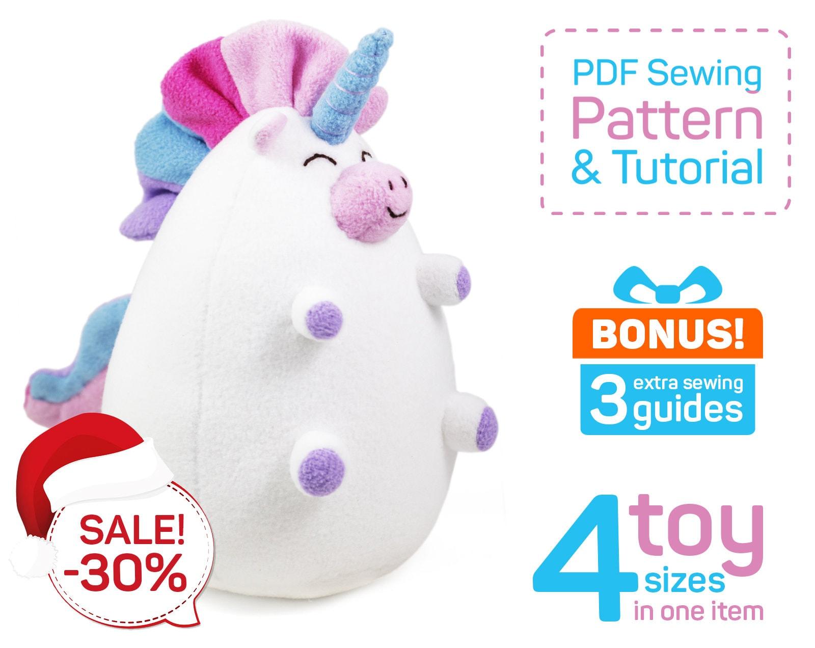 Unicorn sewing PDF pattern Stuffed unicorn doll pattern