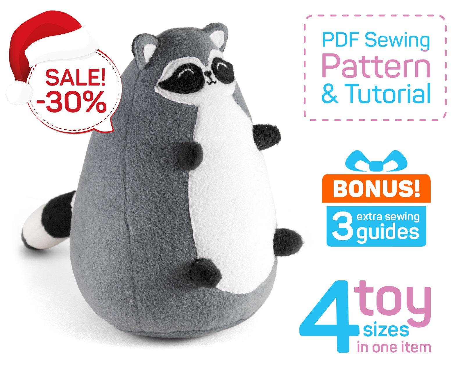 Fatty Raccoon sewing pattern PDF Raccoon plush pattern