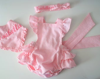 6edf13e6adf6 Pink gingham romper