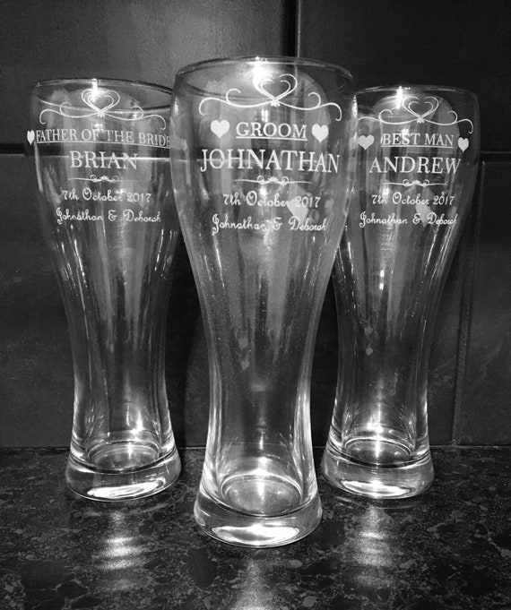 PERSONALISED ENGRAVED PINT GLASS BEST MAN GIFT FATHER OF THE BRIDE GIFT WEDDING