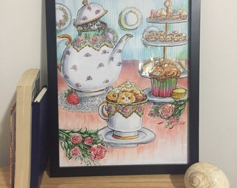 Pink English Tea Party Art Print from Lisa Vissichelli Designs