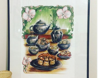 Chinese Tea Party Art Print from Lisa Vissichelli Designs