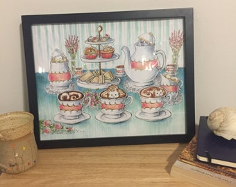 Teal English Tea Party Art Print from Lisa Vissichelli Designs