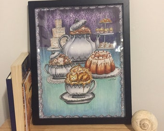 Victorian Tea Party Art Print from Lisa Vissichelli Designs