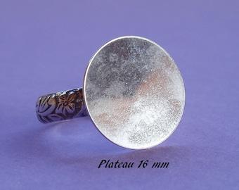 Stützring in Sterling-Silber. 925, Boden-Platten, Teller 16 mm