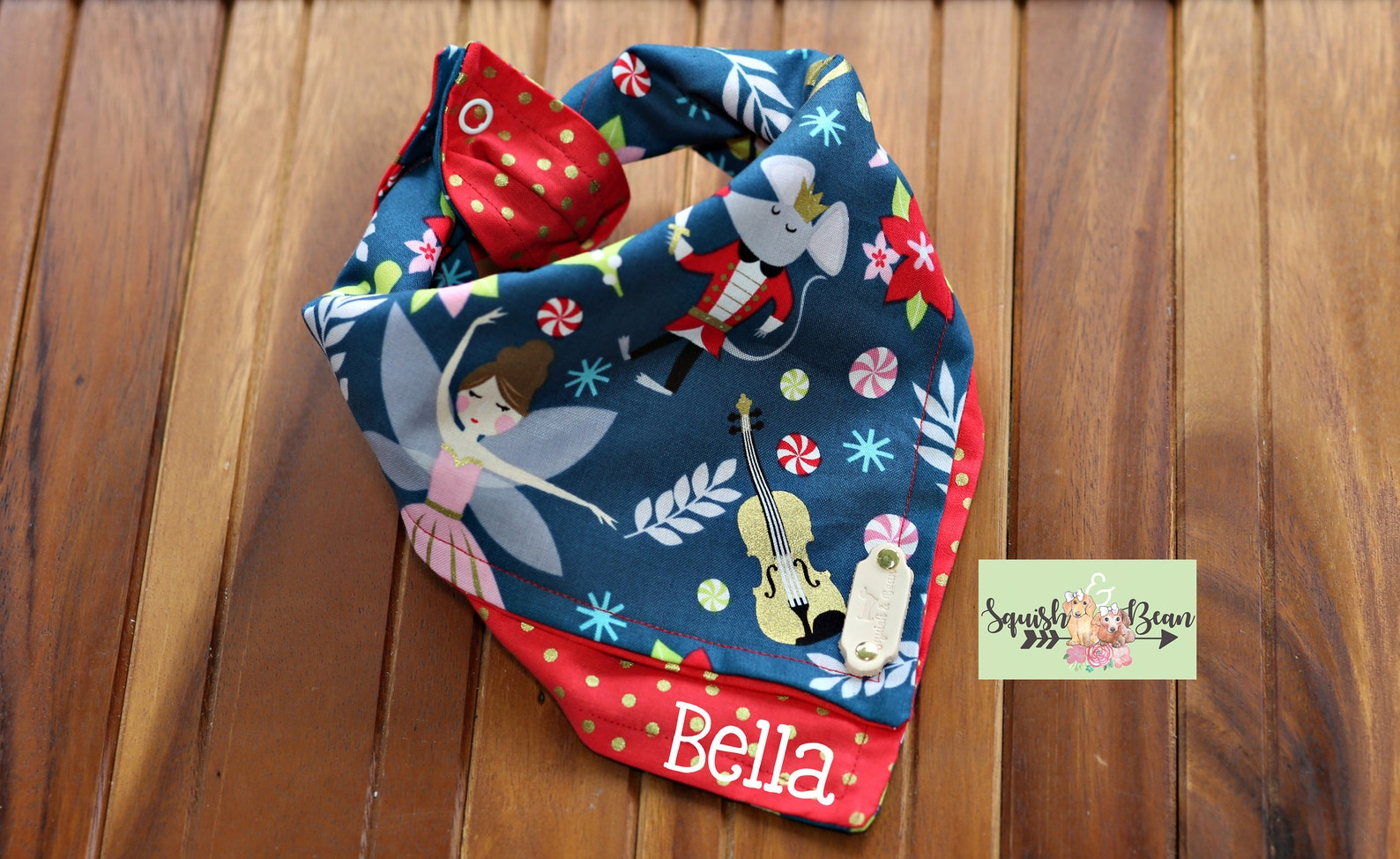 nutcracker ballet themed christmas layered tie around dog bandana-reversible & free personalization