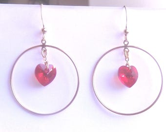 Hoop Gold Filled and Red Swarovski heart Crystal