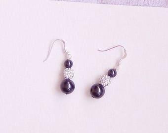 Earrings 925 sterling silver, 3 Swarovski pearls