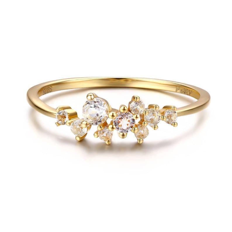 0f3c6ce3e936e2 Diamond Cluster Ring 14K Gold Cluster Ring November | Etsy