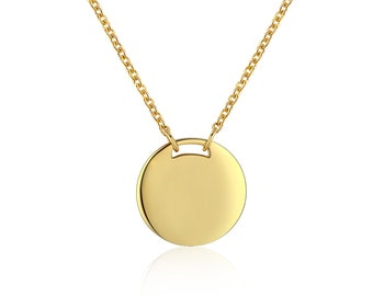 Gold Disk Necklace -  Gold Drop Coin Necklace - Gold Pendant - Dainty Gold Necklace - Layering Necklace - Simple Gold Necklace - Gold Circle