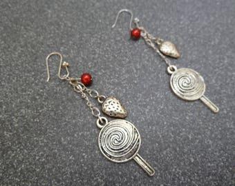 """""""Strawberry Lollipops"""" dangle earrings"""